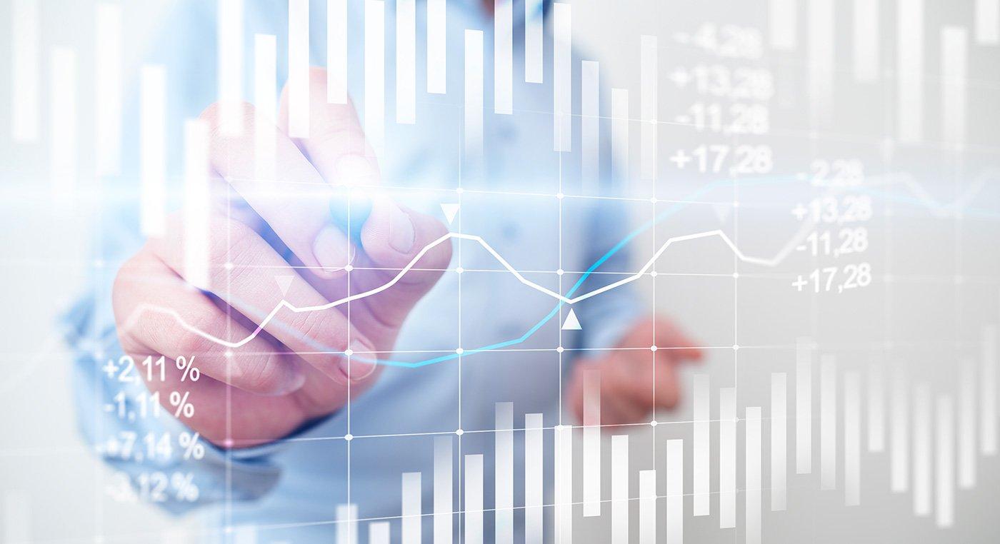 Grafico a candele. Grafico del mercato azionario e del forex trading. Ritorno sull'investimento (ROI). Sfondo di tendenze finanziarie per il business.